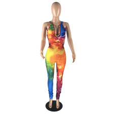 Plus Size Tie Dye Backless Sexy Tight Jumpsuits LLF-8804