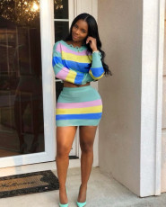 Colorful Stripe Long Sleeve Mini Skirt Two Piece Sets LLF-8824