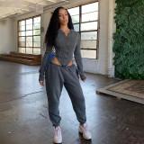 Solid Hooded Zipper Coat Sweatpants 2 Piece Sets SXE-1738382