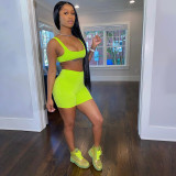 Solid Tank Top And Shorts Fitness 2 Piece Sets SXE-1738395
