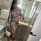 Sexy Printed Long Sleeve Bodycon Jumpsuits SXE-1738461