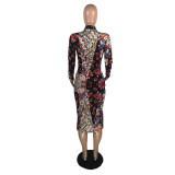 Floral Print Long Sleeve Slim Midi Dress LLF-8828