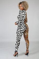 Sexy Leopard Patchwork Long Sleeve Jumpsuits LLF-8827