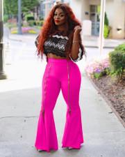 Plus Size Fashion High Waist Slim Solid Color Zipper Flared Pants MAE-2065