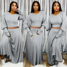 Solid Long Sleeve Maxi Skirt Two Piece Sets QY-5211