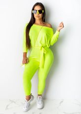 Solid Long Sleeve Sashes One Piece Jumpsuit WSM-5191