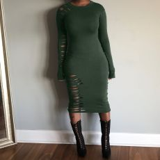 Plus Size Solid Hole Long Sleeve Slim Midi Dress OJS-9043