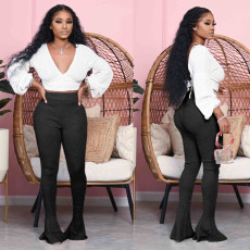 Sexy V Neck Tops Flared Pants Two Piece Sets NY-2037