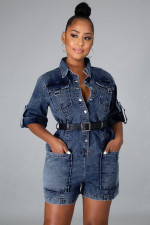Plus Size Fashion Short Sleeve Turn Down Collar Denim Rompers Without Belt LX-6036