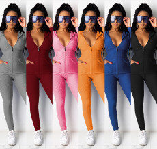 Solid Hooded Zipper Long Sleeve Two Piece Sets MA-378