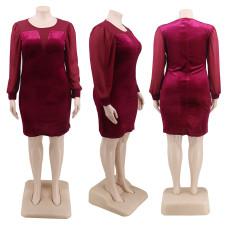 Plus Size 4XL Velvet Patchwork Bodycon Dress CYA-1272