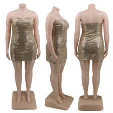 Plus Size 4XL Shiny Sequined Sexy Club Dress CYA-1275