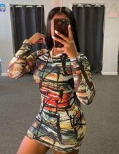 Sexy Printed Long Sleeve Bodycon Mini Dress NY-2039