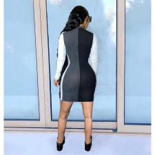 Plus Size Patchwork Zipper Long Sleeve Mini Dress SHE-7219