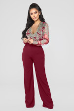 Plus Size Sexy Elegant V-neck Long Sleeve Wide Legs Jumpsuit LX-9395