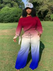 Gradient Long Sleeves Wide Leg Pants 2 Piece Sets MLF-8089