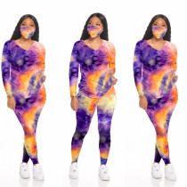 Tie Dye Long Sleeve Two Piece Pants Set With Mask SH-3891