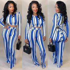 Plus Size Sexy Striped Open Back 2 Piece Pants Set OM-1171
