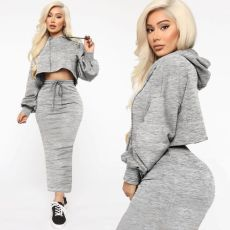 Casual Hoodies Long Skirt Two Piece Sets MOF-5187