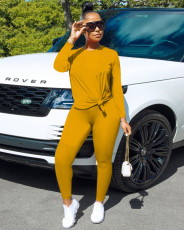 Casual Simple Autumn Solid Color Long Sleeve Sports Two Piece Set MSF-8023