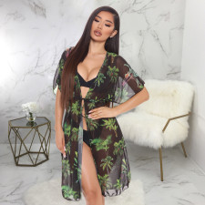 Sexy Mesh See Through Printed Dress Without Underwear SMR-9770
