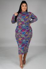 Plus Size 5XL Printed Long Sleeve Midi Dress BMF-034