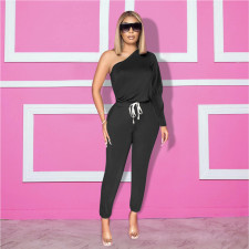 Solid One Shoulder Long Sleeve Jumpsuits YD-8287