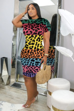 Sexy Leopard Print Short Sleeve Midi Dress MSF-8017