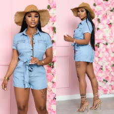 Casual Denim Short Sleeve Sashes Jeans Rompers SMR-9715