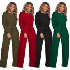 Solid Long Sleeve Casual Loose Jumpsuits SMR-9682
