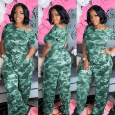 Camo Print Casual Loose One Piece Jumpsuits SMR-9686
