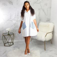 Casual Loose Patchwork Long Sleeve Shirt Dress SMR-9726