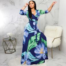 Plus Size V Neck Printed Maxi Dress SMR-9719