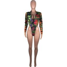 Camo Zipper Bodysuit And Pants Two Piece Suits MUM-5057