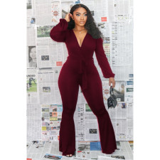 Plus Size Sexy Deep V Neck Sashes Jumpsuits BLI-2170