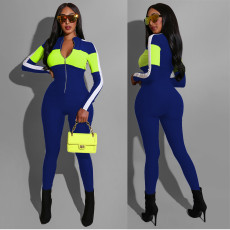 Fashion Sports Splice Long Sleeve Jumpsuit MOS-1019