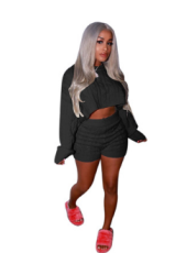Sexy Solid Color Sweater Two Piece Set MOS-834-1