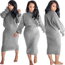 Solid Knitted Turtleneck Two Piece Skirt Sets MOS-1008-1