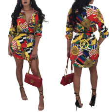 Classic Retro Printed Shirt Dress Without Belt MOS-662