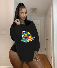 Plus Size Rubik's Cube Print O Neck Loose Sweatshirt RUF-8702