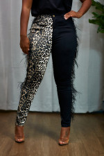 Leopard Feather Patchwork Long Pants YIS-934