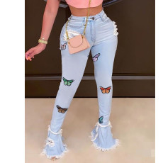 Plus Size Denim Butterfly Embroidery Ripped Hole Jeans HSF-2329