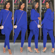 Fashion Casual Solid Color Long Sleeve Two Piece Set MOS-1098