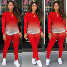 Plus Size Casual Solid Color Gradient Long Sleeve Two Piece Set MOS-1115