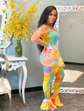 Sexy Tie Dye Print Slash Neck Flared Jumpsuit WSM-5196