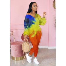 Plus Size Casual Tie Dye Long Sleeve Jumpsuit YFS-3578