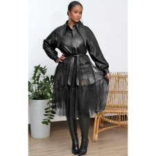 PU Leather Mesh Patchwork With Belt Long Coat YIS-641