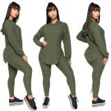 Fashion Casual Solid Color Split Hoodie Sweatshirt Two Piece Set MYP-8942