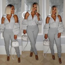Casual Backless Hooded Tops Stacked Pants 2 Piece Sets ORY-5169
