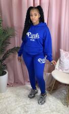 Fashion Sports Casual Pink Letter Print Hooded Sweatshirts Two Piece Set LQ-5887